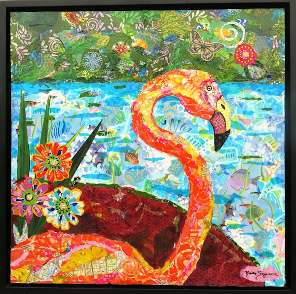 A gorgeous pink flamingo in the wetlands of Florida he calls home in this mixed media collage by Raven Skye McDonough.