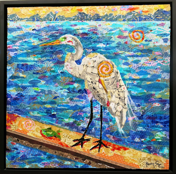 A beautiful white heron sits by the water in this mixed media collage by Raven Skye McDonough.