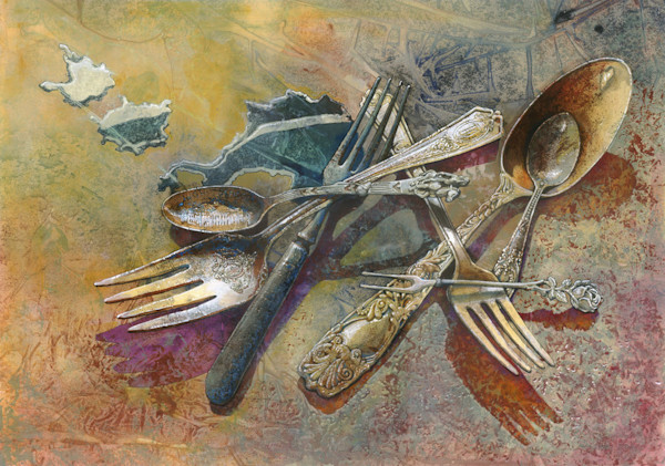 A jumble of tarnished and mismatching old silverware lie on the floor in this open edition print by Craig Cossey.