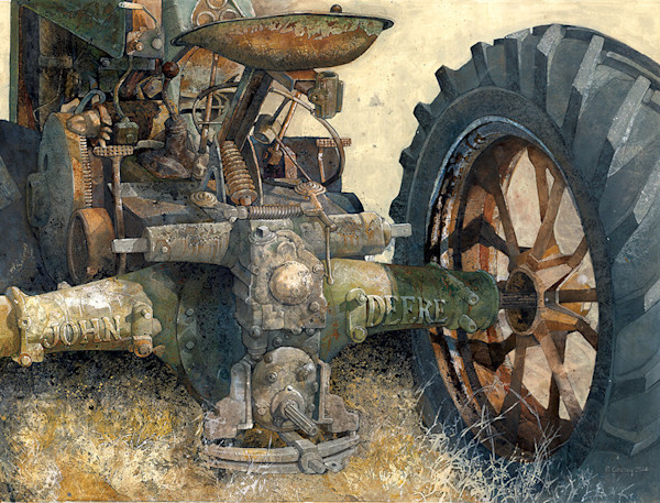 An antique John Deere farm tractor sits in a field in this open edition print by Craig Cossey.