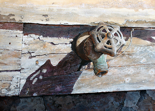 A close up look at a weathered garden hose faucet in this open edition print by Craig Cossey.