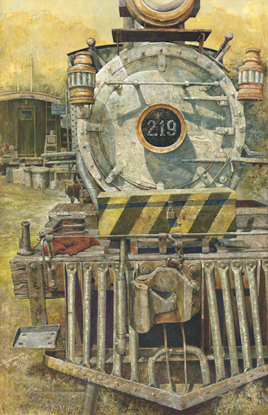 An old locomotive sits on the track in this open edition print of an original acrylic painting by Craig Cossey
