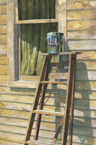 A paint can sits on top of a step ladder ready to be used to paint the house in this open edition print by Craig Cossey.