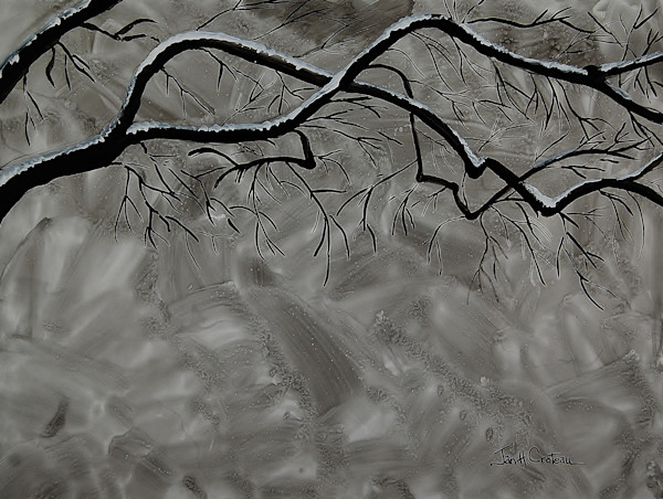 Long Arm of Winter: an elegant fine art, ink paintings of snow on branches.