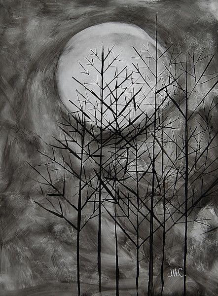 Moon Sticks: fine art ink paintings of moon through the winter trees.