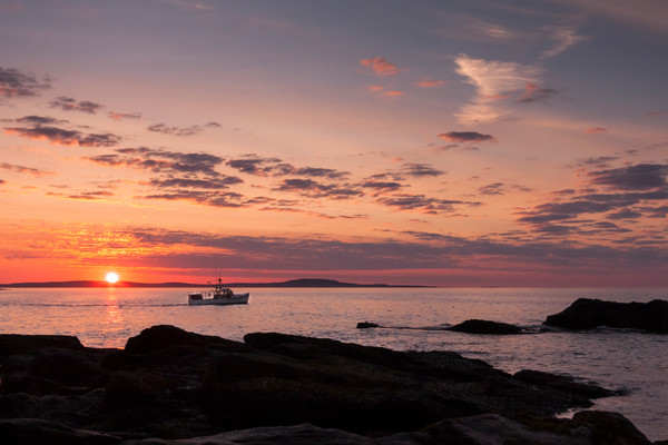 Beach Wall Art: Lobster Boat at Sunrise