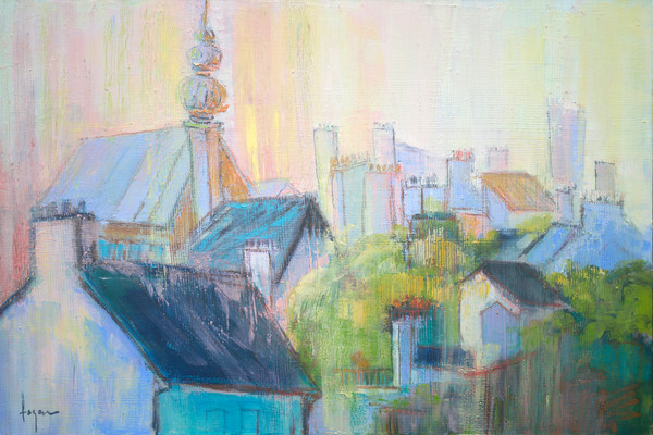 Paris Sunrise | Rooftops Oil Painting