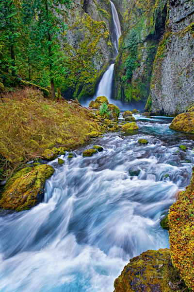 Wahclella Falls (141007LNND8) Stunning Oregon Waterfall Photograph for Sale as Fine Art Print
