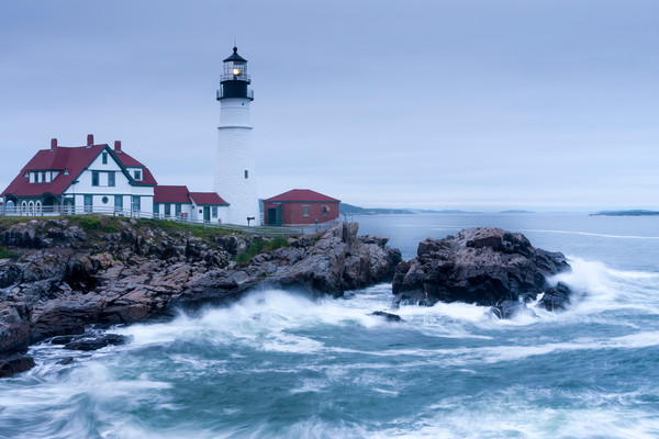 Lighthouse Wall Art: Evening Waves in Portland