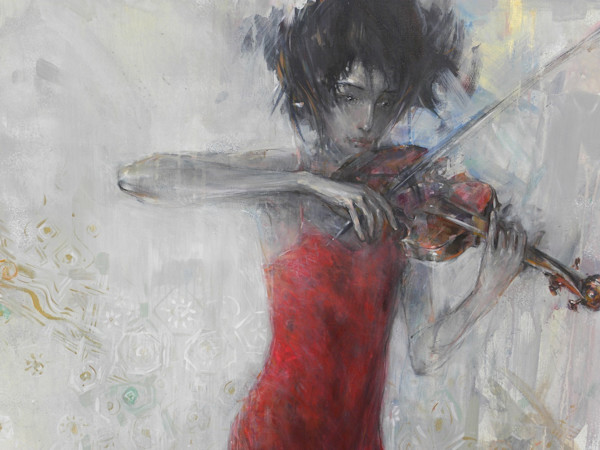 "Stunning acrylic painting by Grigor Malinov of a young violinist playing ""The Four Seasons"""