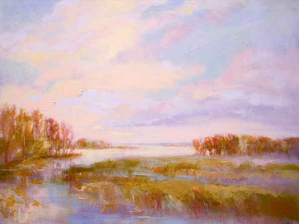 Golden View | Water Landscape Painting
