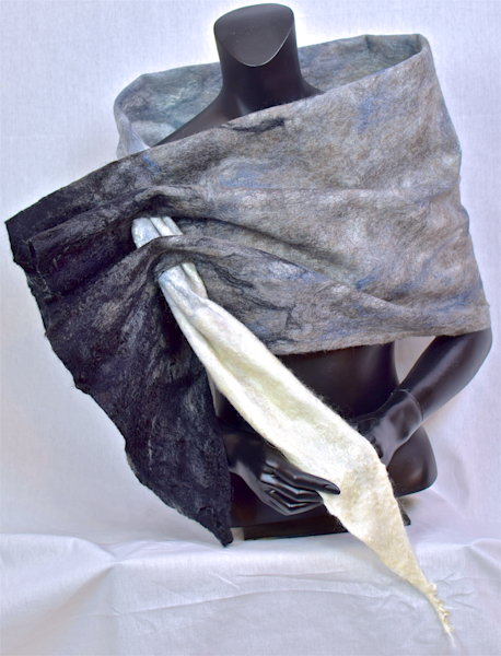 Women's custom felted black, white and gray wrap
