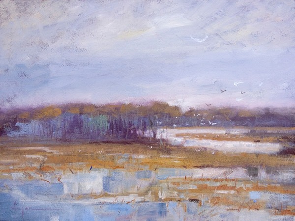 Gulls on the Marsh | Abstract Coastal Landscape Painting