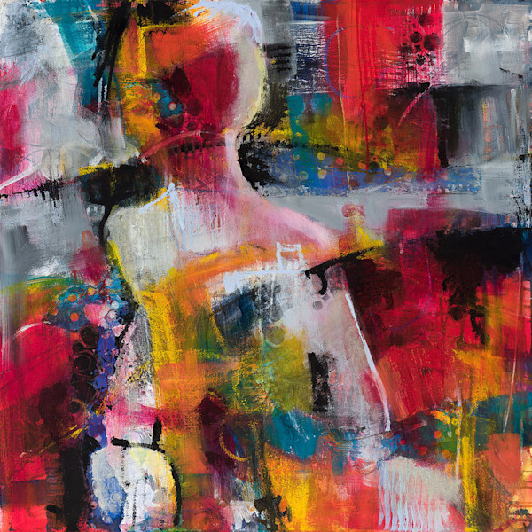 Abstracted figurative painting by M. Jane Johnson is a one-of-a-kind original work of art.