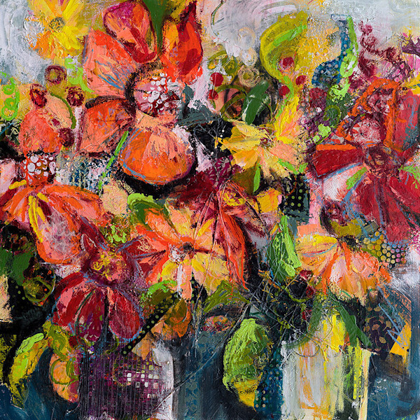 Vibrant flowers pop in this stunning abstracted floral mixed media painting.