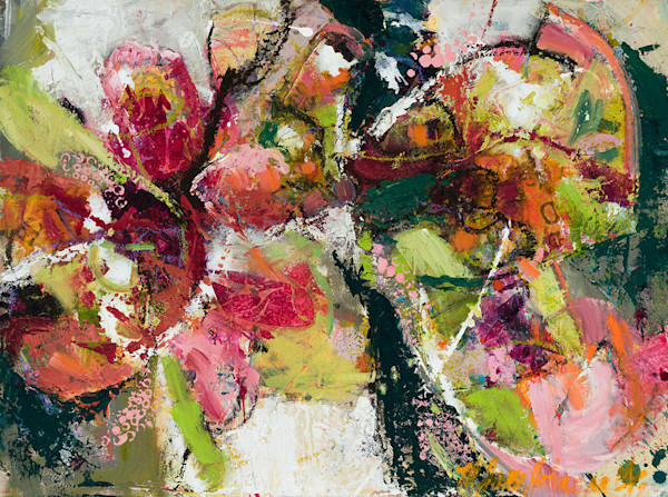 This bright, abstract floral painting is an original mixed media artwork by M. Jane Johnson.