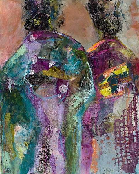 This ethereal abstract painting of two geishas is a mixed media work by M. Jane Johnson with color and depth