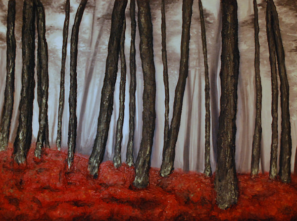 Autumn Shadows mixed media bas-relief fusion art landscape original painting