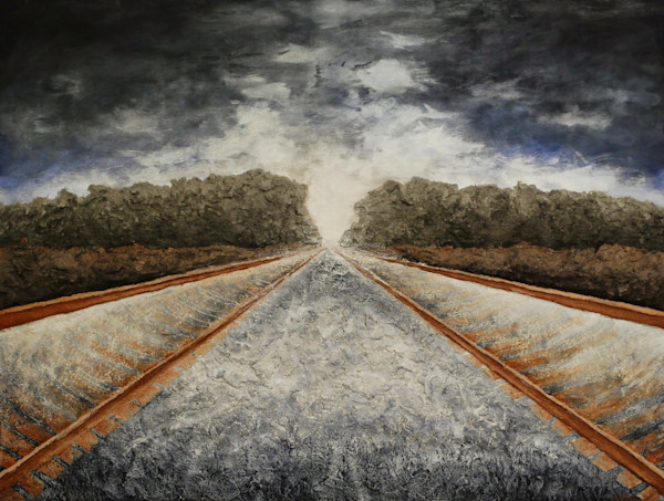 Racing Towards Possibilities, an Original fine art bas-relief fusion art railroad landscape painting.