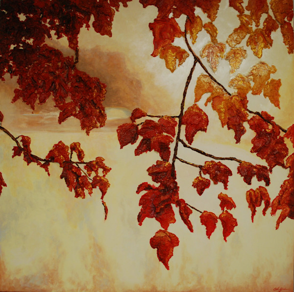 Autumn Sunrise Print of Alison Galvan's fine art fusion art landscape painting of beautiful fall leaves glimmering in the sunlight.