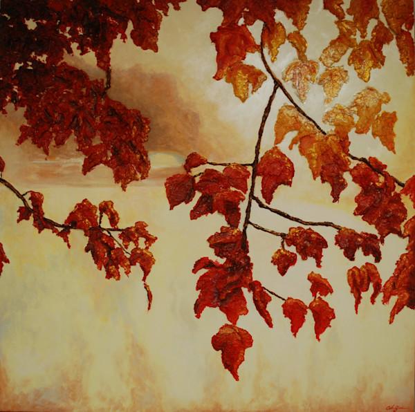 Original bas-relief fusion art landscape painting titled Autumn Sunrise by fine artist Alison Galvan