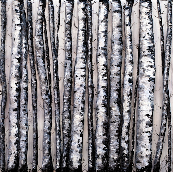 Original Landscape Painting titled Winter's Contrasts by artist Alison Galvan. A black and white contemporary bas-relief fusion art piece shimmers and draws you into her natural world.