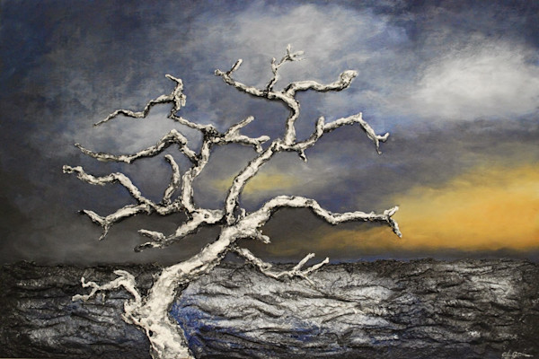Original seascape painting by bas-relief fusion artist Alison Galvan titled On the Edge of the Storm.