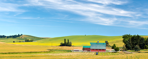 Red Barn Under Blue Sky, Palouse, Washington