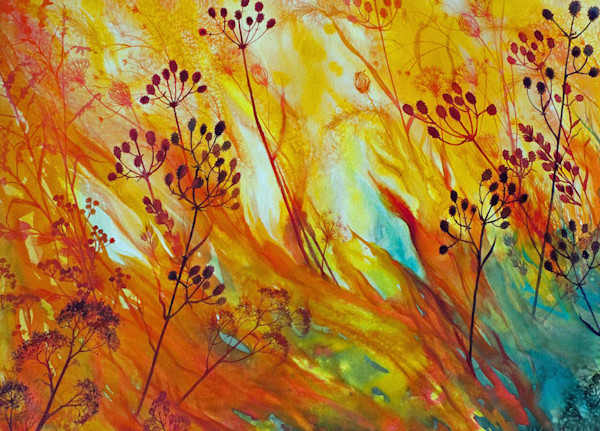 Prairie Fire I is an original watercolor by artist Helen Klebesadel with dynamic color and movement.