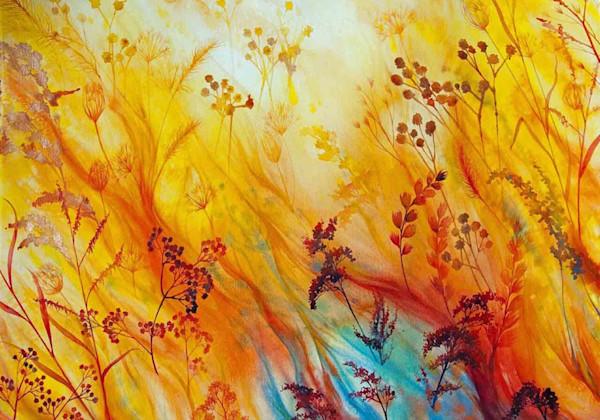 Prairie Fire II is an original watercolor on paper by acclaimed artist Helen Klebesadel.
