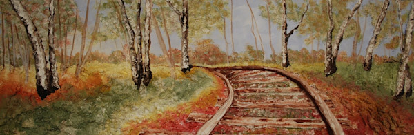 Print of Around the Bend, Alison Galvan fusion art railroad landscape art piece.