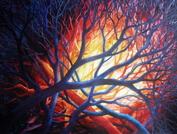Bold colors dance in this original watercolor on paper titled Bonfire by Helen Klebesadel