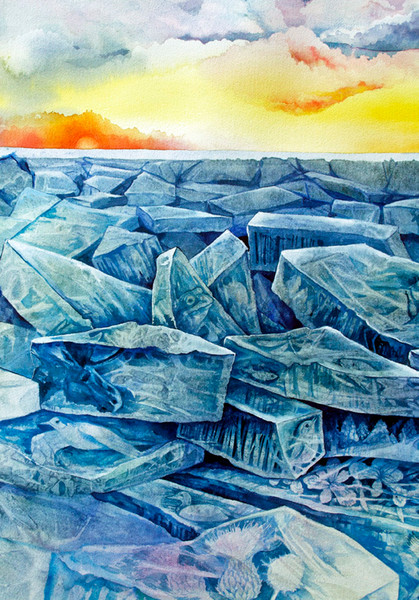This original watercolor by Helen Klebesadel is about climate change and its consequences.