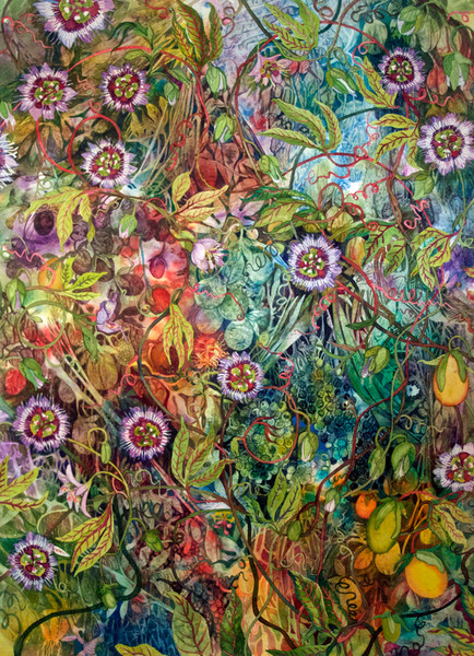 Artist Helen Klebesadel offers this stunning original watercolor of passion flowers