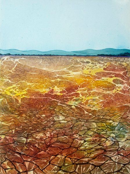 Artist Helen Klebesadel painted this large watercolor landscape showing a drought.