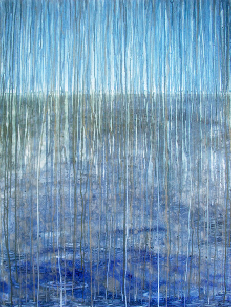 This abstract watercolor by artist Helen Klebesadel is a study in blues and grays, and depicts a rainy deluge.