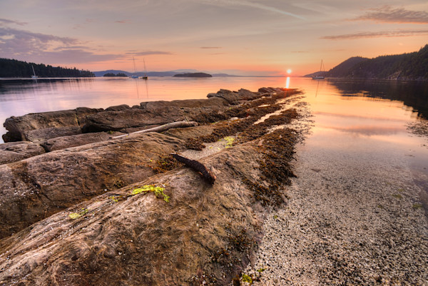 Montague Harbour Sunset Photograph for Sale as Fine Art.
