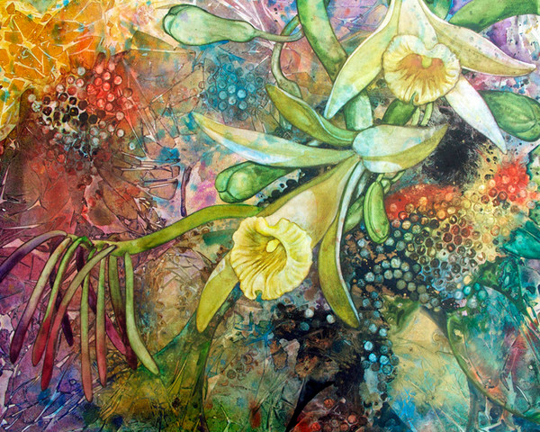 Enchanting original watercolor on canvas of rare and endangered orchids.
