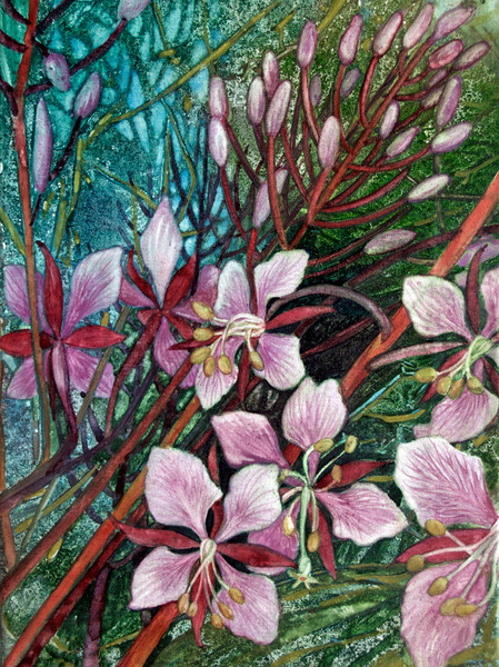 This original watercolor painting of Alaskan Fireweed by acclaimed artist Helen Klebesadel pops with color.