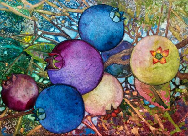 Wild Blueberries is a delightfully colorful original watercolor painting by Helen Klebesadel.