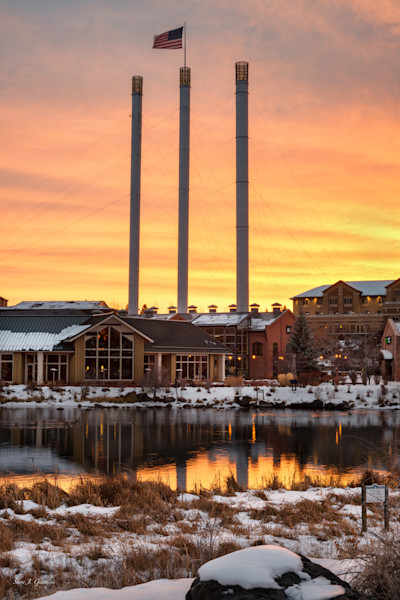 Mill Stack Sunrise (141371LND8-S) Photograph for Sale as Fine Art