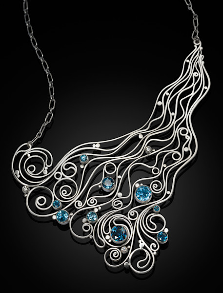 Handcrafted Silver and Topaz Collar Necklace by Susan Bevis at Prophetics Gallery