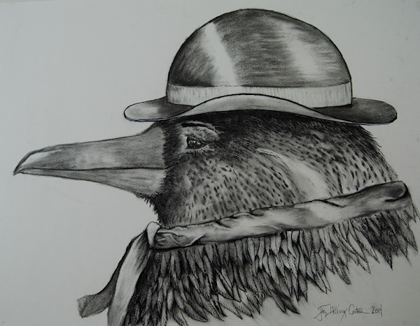 Delightful fine art, charcoal painting  of a raven decked out with a  bowler hat.