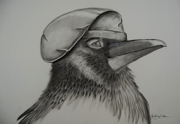 Whimsical fine art charcoal painting of French Raven wearing a  beret.
