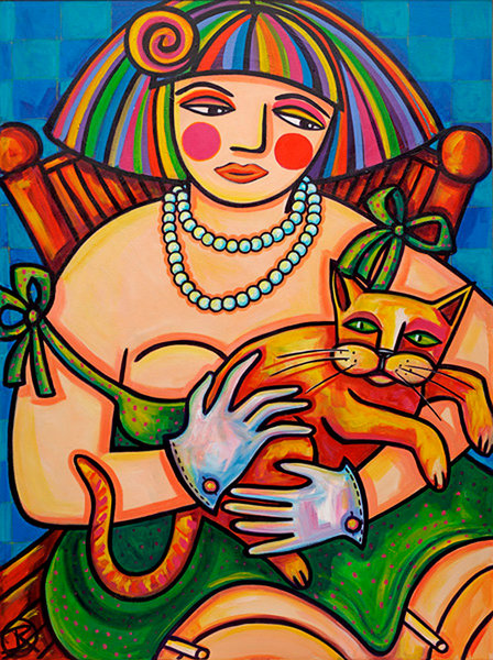 In this original framed painting by Ilene Richard, a young disheveled woman dressed in lingerie, pearls and deep in thought sits holding her pet cat for comfort.