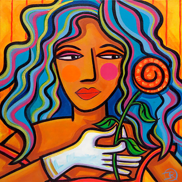 A woman holding a single rose tells her suitor that she'll think about his offer in this original painting by Ilene Richard.