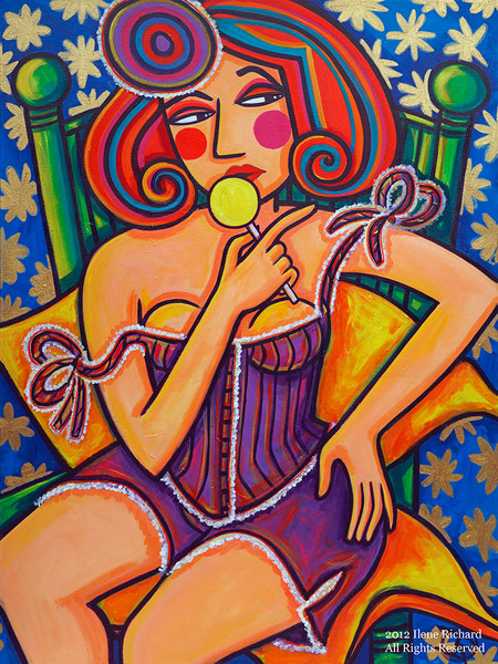 Fabulously flirty, this woman feels the power of her sensuousness and seductiveness in this original acrylic painting by Ilene Richard.
