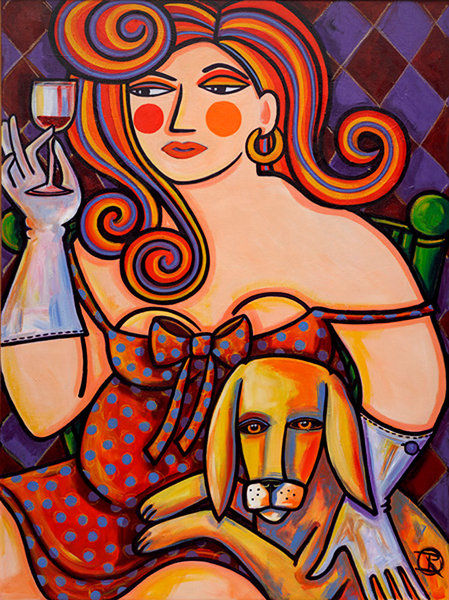 In this framed painting by Ilene Richard, a woman who appears to have dressed up to go out, is instead having Happy Hour at home with her best friend.