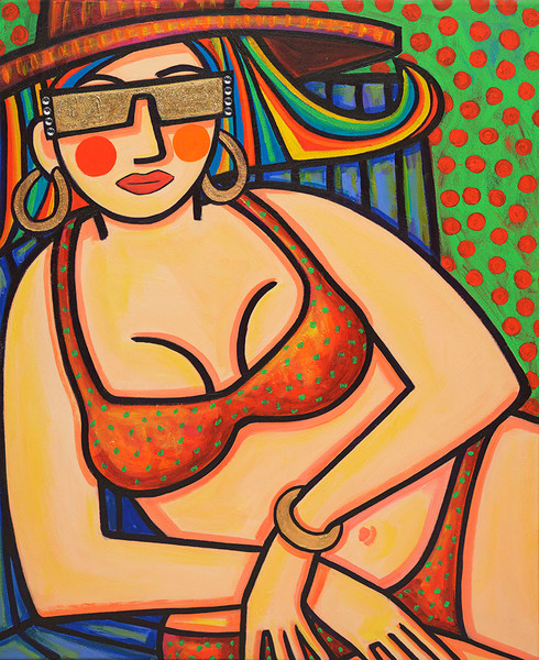 This bathing beauty is very sure of her self as she gazes out at the viewer through her rhinestone and glitter adorned sunglasses in this original painting by Ilene Richard.