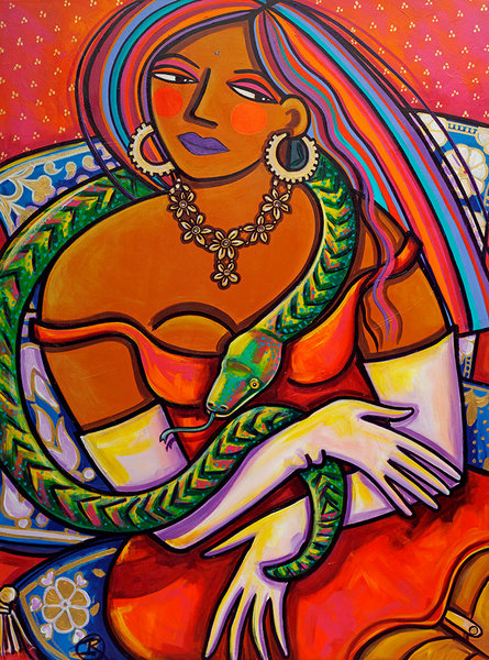 This east Indian beauty is a combination of old world - a snake charmer - and new world - wearing a seductive dress with garters. The vibrant reds and oranges make this a knock out addition to your decor in this original acrylic painting by Ilene Ric